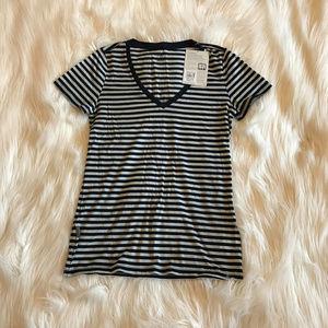 Icebreaker Tech T Lite Striped V Neck Shirt